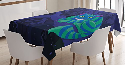 Ambesonne Alice in Wonderland Decorations Tablecloth, Chester Cat Sitting on Branch in Fairy Forest Character Alice, Rectangular Table Cover for Dining Room Kitchen, 52x70 Inches, Green Blue Purple]()