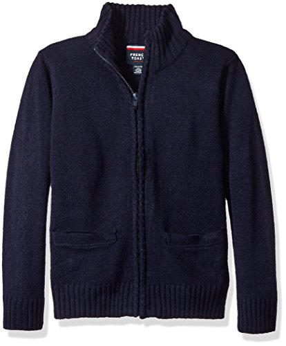 Boys Uniform Sweater (French Toast Little Boys' Zip Front Sweater, Navy, Small/6/7)
