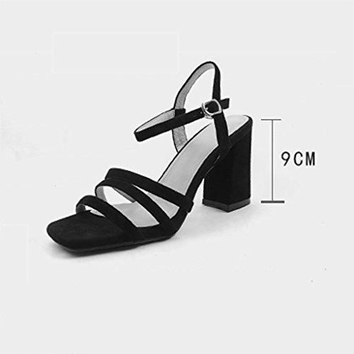 alto Black de de tacón tacones Black cuero zapatos Color de QINGTAOSHOP Sandalias verano 37 altos palabra áspera Roma Size de con Sra wEqtUZI