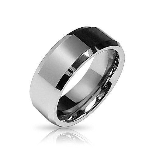 Bling Jewelry Beveled Edge Center Comfort Fit Tungsten Wedding Band - Bling Jewelry Rings Mens