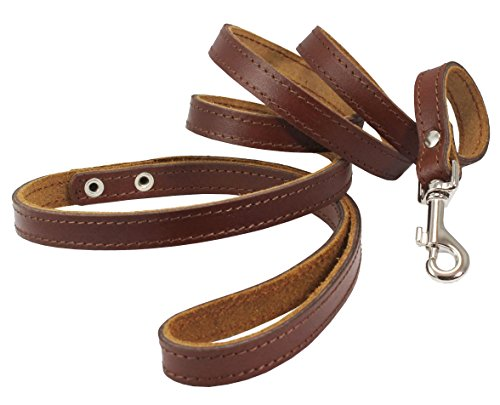 Dogs My Love Genuine Leather Classic Dog Leash 4 Ft Long 9 Sizes (Xsmall (Width: 10mm - 3/8
