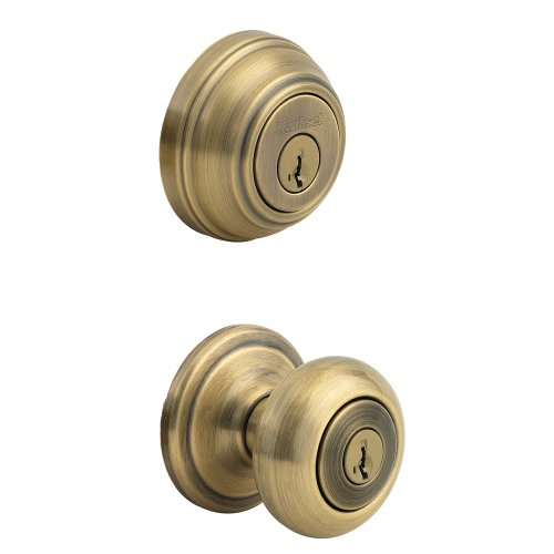 Kwikset 991 Juno Entry Knob and Single Cylinder Deadbolt Combo Pack featuring SmartKey in Antique Brass