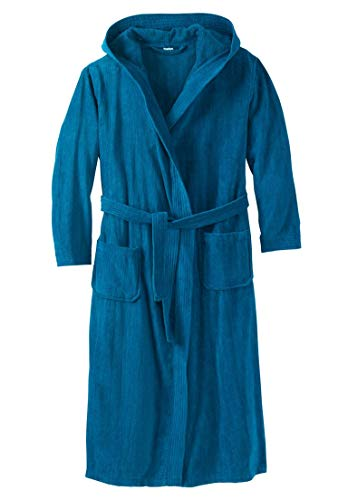 Tall Terry Velour Hooded Maxi Robe, Midnight Teal Tall-L/X ()