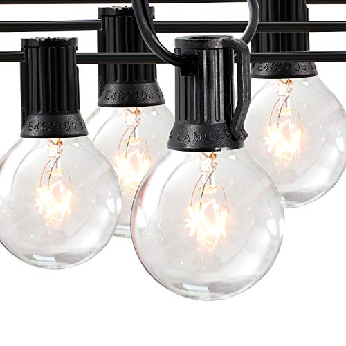Phiersun 50FT Outdoor Patio String Lights, 50pcs Hanging Sockets E12 Base, 52pcs 5W G40 Globe Bulbs, UL Listed for Porch Backyard Deck Patio Wedding Party Balcony Decor