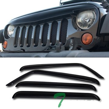 Topline Autopart Glossy Black Angry Bird Vertical Mesh Front Hood Bumper Grill Grille ABS + Window Visors For 07-18 Jeep Wrangler JK 4 Door