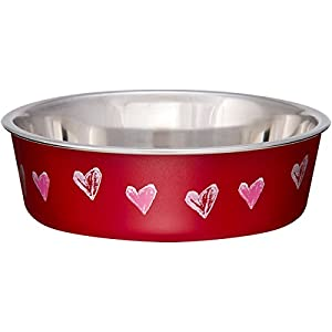 Loving Pets Bella Bowl Designer & Expressions, Dog Bowl, X-Small, Hearts Valentine, Red 26