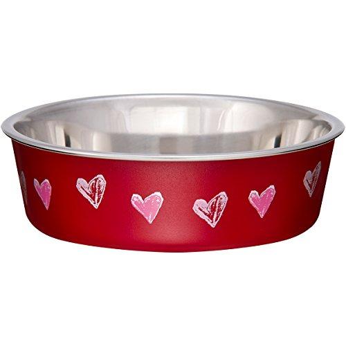 Loving Pets Bella Bowl Designer & Expressions, Dog Bowl, X-Small, Hearts Valentine, - Bella Dog Bowl