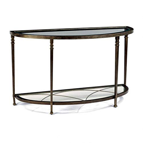 GTU Furniture Atrium Metal Round Beveled Glass Sofa/Console Table