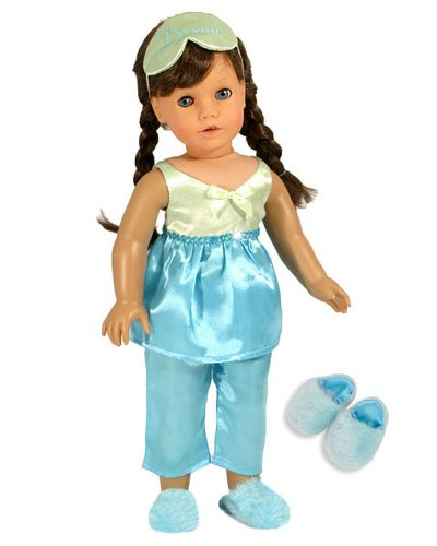 4 Pc. Turquoise and Lime Satin Doll Pj's Set, Fits 18 Inch American Girl Dolls Pajamas, Includes Eye Mask & Fluffy Doll Slippers