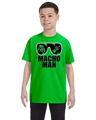 Cindy Apparel Macho Man Boys Tee Shirt Randy Savage Wrestling Legend Sunglasses Easy Halloween Costume Small Green (Randy Savage Costume Halloween)