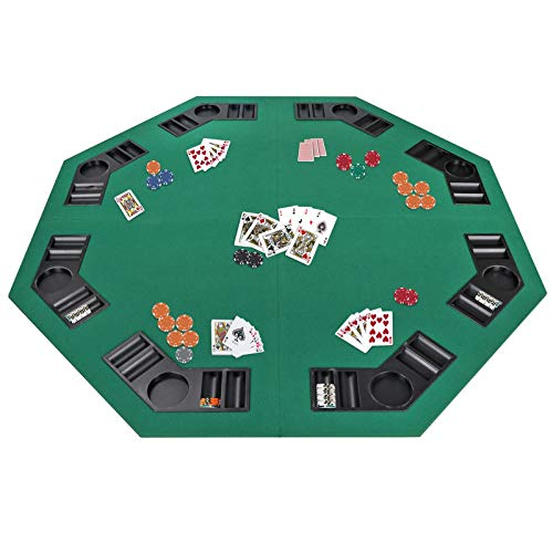 Smartxchoices 48″ Folding Poker Table Top Octagon Layout – 8 Players Casino Games Texas Hold 'em, Blackjack, Gambling Poker Mat Cover with Cup Holders Carrying Case Family Game