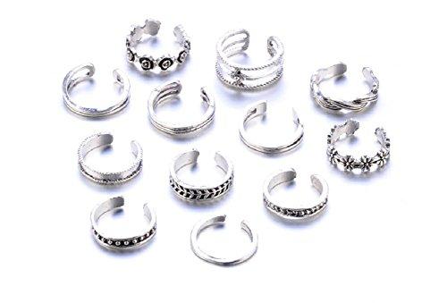 Zhiwen 12PCs/Set Retro Silver Adjustable Open Toe Ring Finger Foot Beach Jewelry (Stylish Toe Ring)