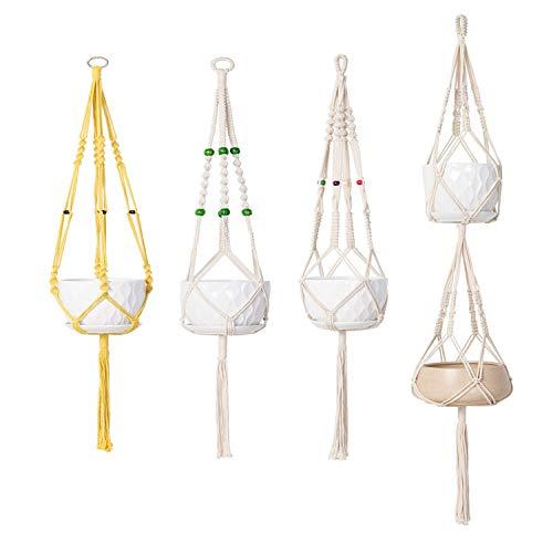 Macrame Plant Hanger Hanging Planter - HMCC Set of 4 Handmade Basket Cotton Rope for Flower Ivy Succulent Fern Herb Pot Holder Indoor Outdoor WallGarden Home Decoration