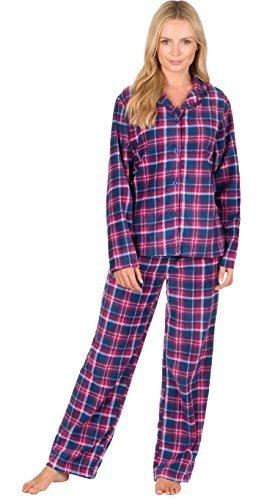 Mujer Estampado a Cuadros Manga Larga Pijamas De Forro Polar Térmico Ropa de descanso - CUADROS