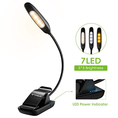 7 LED Book Light, TOPELEK reading Light with Power Indicator,  9 Models...