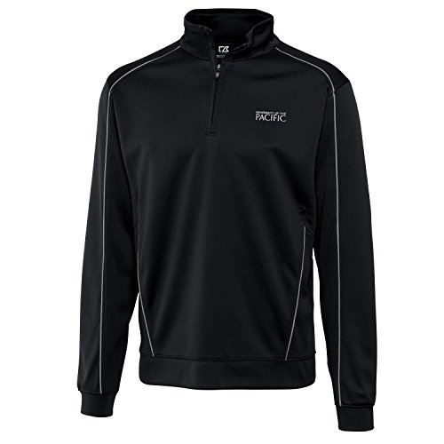 Cutter & Buck NCAA Pacific Boxers NCAA Men's CB Dry Tec Edge Half Zip Apparel, Medium, Black