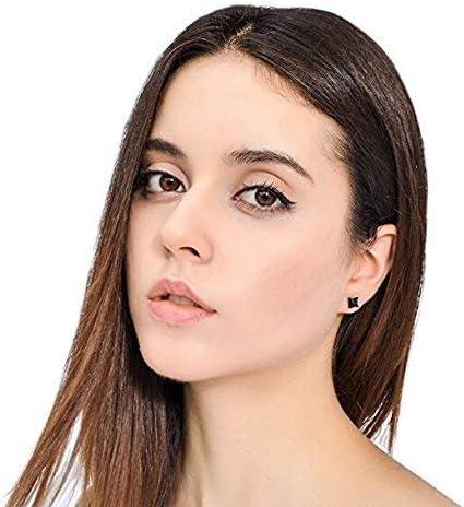 Finrezio 4 Paires Boucles dOreilles Magn/étiques en Acier Inoxydable pour Hommes Femmes Clip Non-Piercing CZ Noir//Argent 6-10 MM