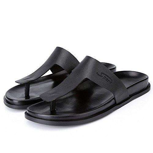 2018 Scarpe Nero uomo Dimensione casual Infradito antiscivolo shoes vera morbide 41 Mens stile Sandali in pelle EU Color Nero da Sandbeach PxqrwPAna