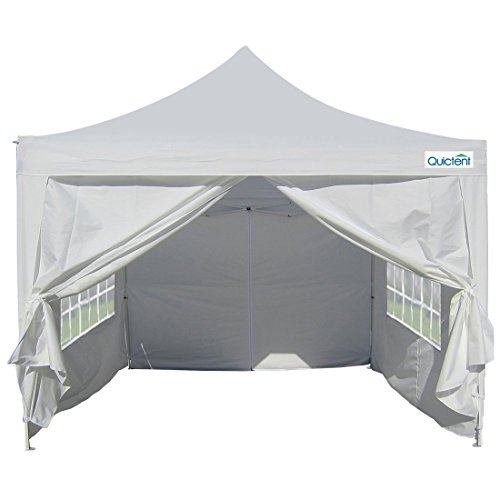 Quictent Silvox 100% Waterproof 10×10′ EZ Pop Up Canopy Tent Instant Canopy Gazebo Green Portable Pyramid-roofed 100% Waterproof-7 colors (white)
