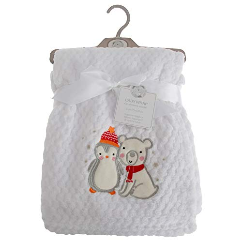 (Snuggle Baby Penguin and Polar Bear Baby Wrap (29.5in x 39in) (White))