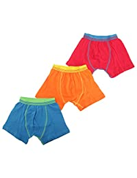 Universal Textiles Childrens Boys Contrast Band Design Trunks/Boxer Shorts Underwear (Pack Of 3) (5-6 Years) (Red/Orange/Blue)