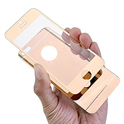 IPhone 6Plus 6sPlus Case Yerwal Rose Gold Front Back Mirror Tempered Glass Film Screen