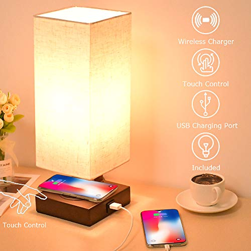 LEGELITE Touch Control Table Lamp with Wireless Charger and USB Port, 3-Way Dimmable Desk Lamp Modern Table Lamp for Bedroom Living Room Office, Led Bulb Included (Table lamp with Wireless Charger)