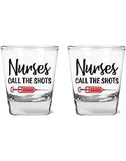 Nurses Call The Shots - Funny Birthday Gift for Nurses - 1.75 oz Shot Glass Set (2)