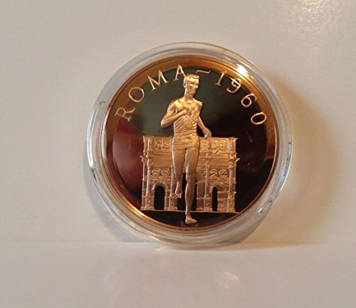 Abebe Bikila - First Gold Medal Winner from Black Africa - Ethiopia - Marathon - 1960 Rome, Italy - Franklin Mint History of the Olympic Games - 1976 Bronze Proof Coin