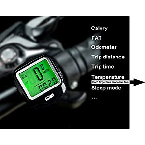 Fashion lab Bike Computer Speedometer Wired Waterproof Bicycle Odometer Temperature Display Bicycles Accessories Multi-Function Large LCD Backlight Display Bike Accessories (Black)