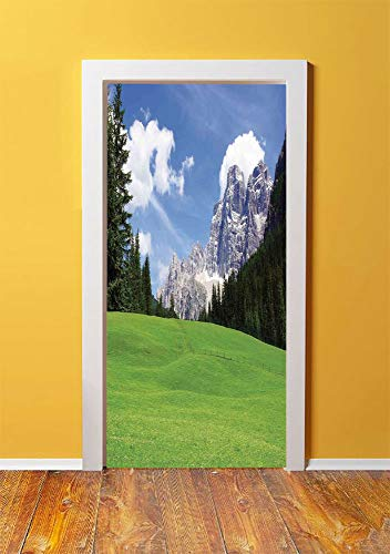 - Nature 3D Door Sticker Wall Decals Mural Wallpaper,Picturesque Mountain with Rural Road View of Italian Country Modern Print,DIY Art Home Decor Poster Decoration 30.3x78.10006,Blue Evergreen