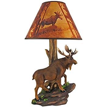 north american bull moose table lamp w shade