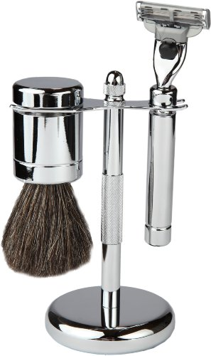 3 Piece Shaving Set With Mach 3 All Metal Heavyweight Handle and 100% All Metal Heavyweight Badger Brush, With All metal Chrome Textured Stand by Boss Razors