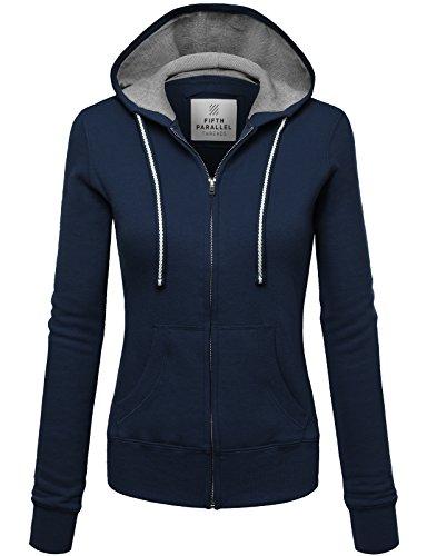 FPT Womens Basic Zip-Up Hoodie NAVY LARGE (Jacket Basic Hoodie Women)