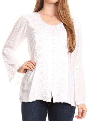 Gorgeous White Eyelet - Sakkas 1758 - Soraya Embroidered Eyelet Button Down Blouse Top With Long Sleeves and Ties - White - 1X/2X