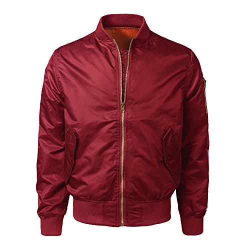 Sumen Men Slim Fit Lightweight Sportswear Jacket Casual Bomber Jacket Soild Color Outerwear Coat ()