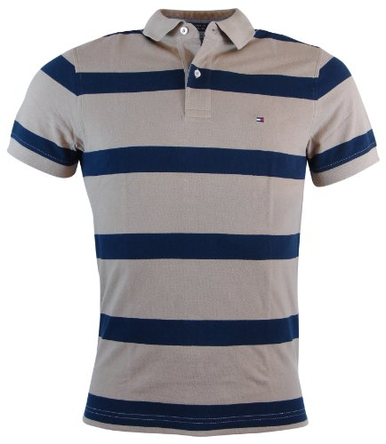 Tommy Hilfiger Mens Custom Fit Striped Polo Shirt - XXL - Beige/Navy