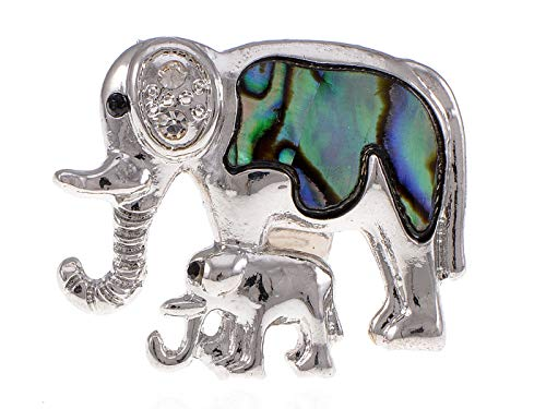 Silver Tone Mommy n Baby African Elephant Natural Abalone Shell Adj Fashion Ring