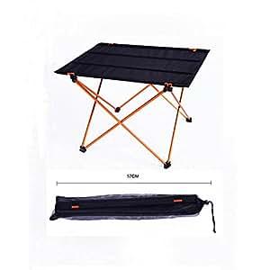 Al aire libre Camping Picnic mesa plegable ultraligero aleación portátil plegable tela impermeable mesa, color negro