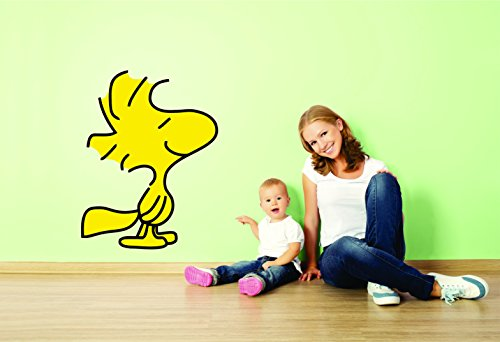 Charlie Brown and Snoopy Wall Vinyl Art Decal / Peanuts Cartoon Kids Bedroom Stickers Decals/ Childs TV Characters / Patty Shermy Snoopy Violet Gray Linus VAn Pelt / yellow Friend size 15X20inch ()