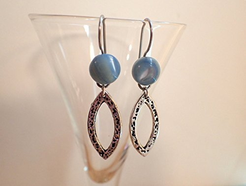 Amazoncom Vintage Mother Of Pearl Blue Button Earrings Antique