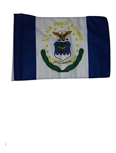 ALBATROS 12 inch x 18 inch Air Force Retired Sleeve Flag for use on Boat, Car, Garden for Home and Parades, Official Party, All Weather Indoors Outdoors