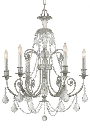 Crystorama 5116-OS-CL-MWP Crystal Accents Six Light Chandeliers from Regis collection in Pwt, Nckl, B/S, Slvr.finish,