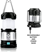 LED Camping Lantern Flashlights, Fuleadture Portable Outdoor Rechargeable Lanterns with Hang Hook & 4400mAh USB Power Bank for Hiking, Reading, Emergencies, Hurricanes