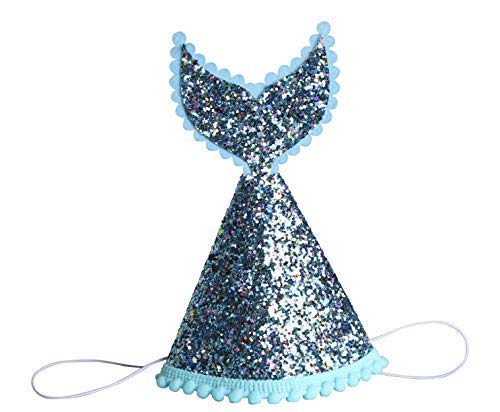Grantparty Mermaid Tail Party Hats Sparkle Princess Cone Hat for Birthday Party ()