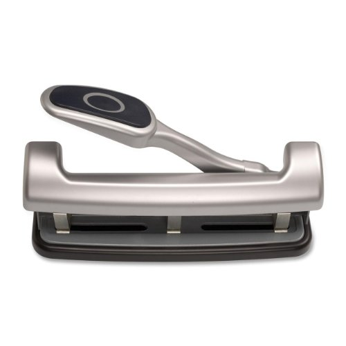 Officemate EZ Lever Adjustable Three Hole Punch, Silver, 25-Sheet Capacity (90052)