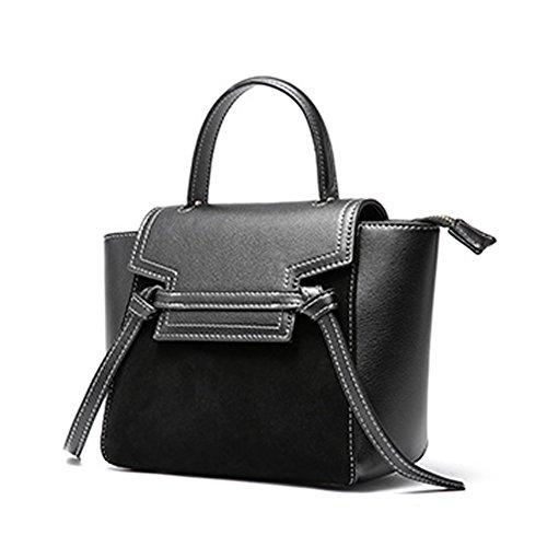 Pockets Handbags Leather Multiple Bag Shoulder Black Dissa Soft Q0960 Women xPTBBU