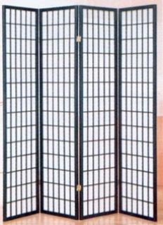 4 panel black folding shoji screen room divider