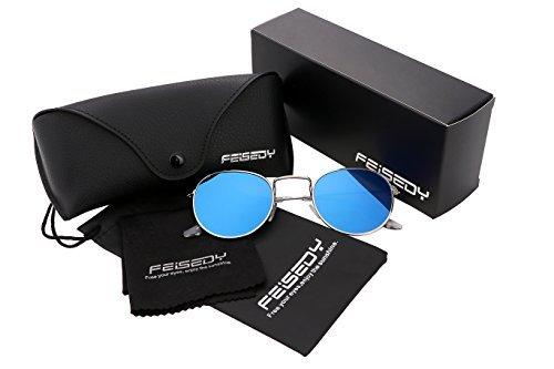 FEISEDY Retro Round Metal Frame Flat UV400 HD Lens Women Men Sunglasses B1852 9-blue
