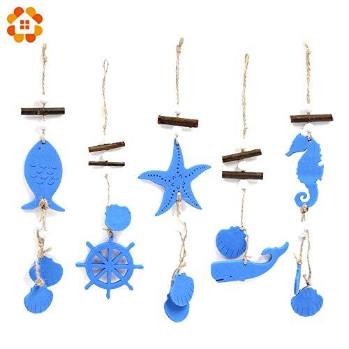 Christmas Wood Decorations Christmas Wooden 5PCS/Lot White&Blue Ocean Wooden Pendants Ornaments for Home Ornaments Decorations Boy Room Ocean Decor Kids Gifts (Random)